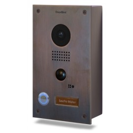 DoorBird D201B Video Deurbel met Intercom, Bronze Finish Stainless Steel front, inbouwuitvoering